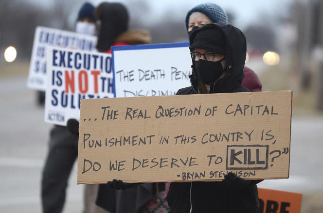 Demonstration against the execution of Corey Johnson, near the federal correctional complex, on January 14, in Terre Haute, Indiana.
