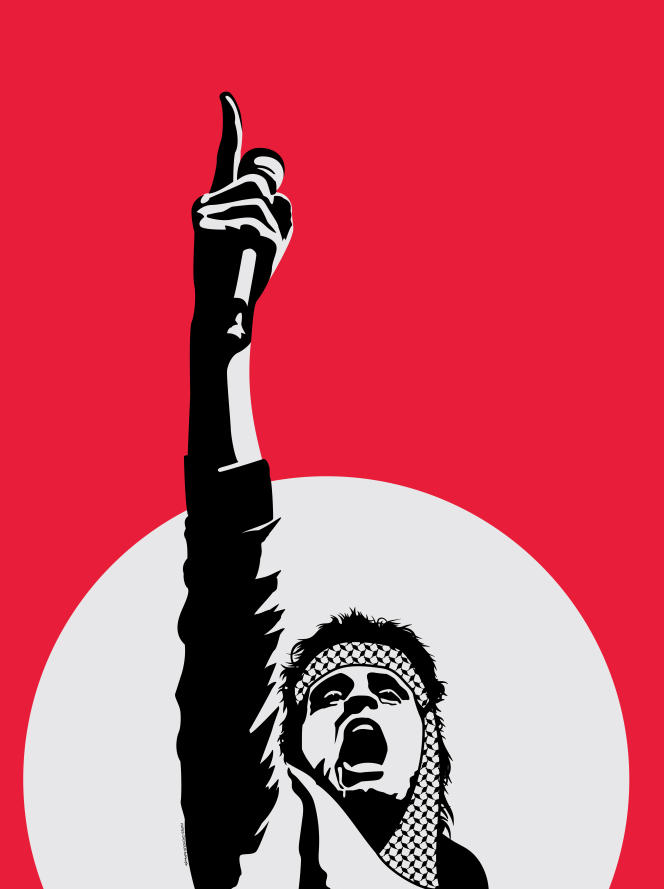 Poster representing Abdel Basset Sarout, a Syrian footballer who in 2012 became a rebel leader in the civil war.  Icon of the revolution, he was killed in Idlib in June 2019.