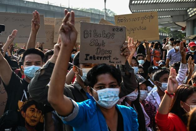 Demonstrators denounce the blocking of the Internet by the army on February 7 in Rangoon.