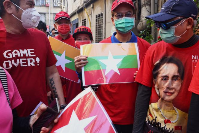 Members of the Burmese community in Taipei demonstrate against the military coup on February 6, 2021.
