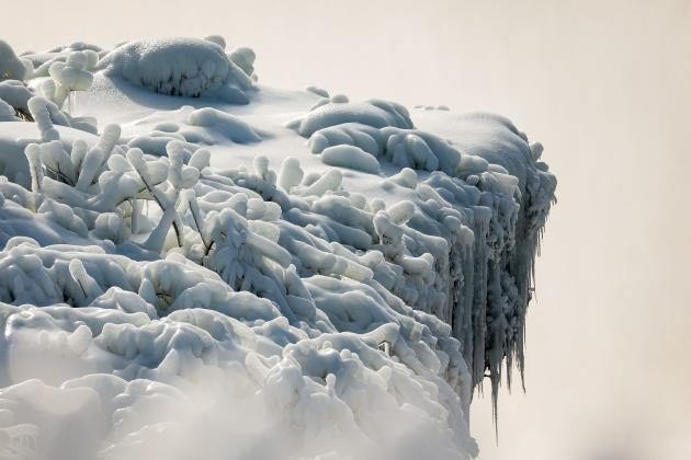 Frozen rim of the Horseshoe Falls (or Canadian Falls) on Niagara, United States, February 21, 2021.