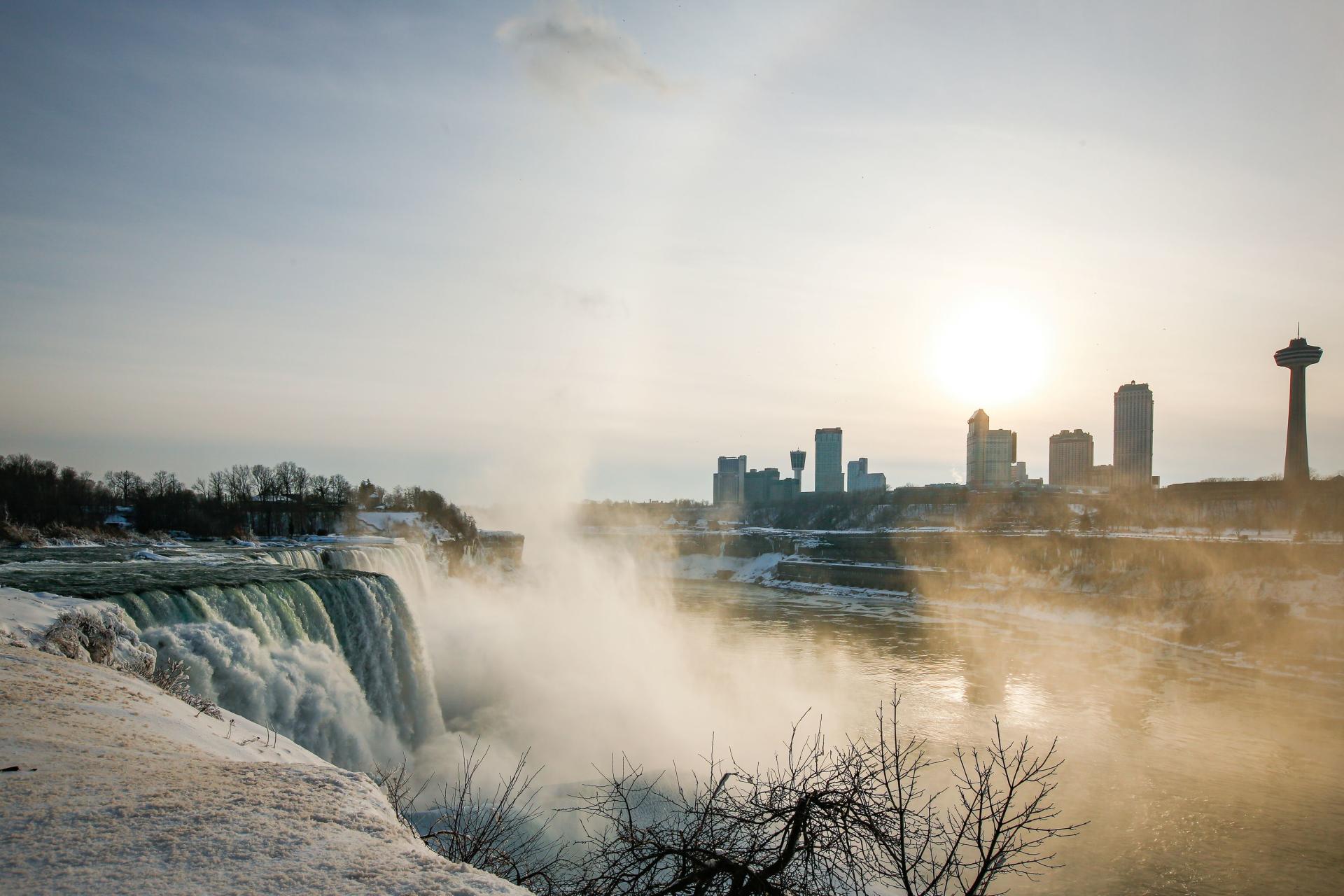 American Falls and the city of Niagara Falls, USA on February 21, 2021.