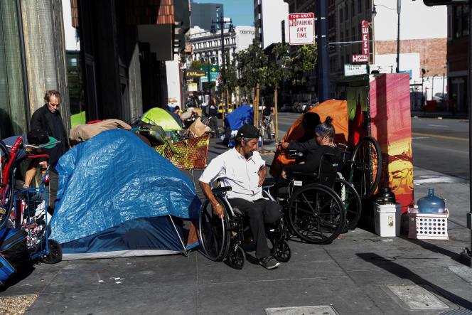 A homeless camp in the Tenderloin neighborhood of downtown San Francisco, California, April 1.