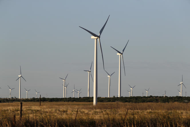 Wind turbines near Sweetwater, Texas on Wednesday, July 29, 2020.
