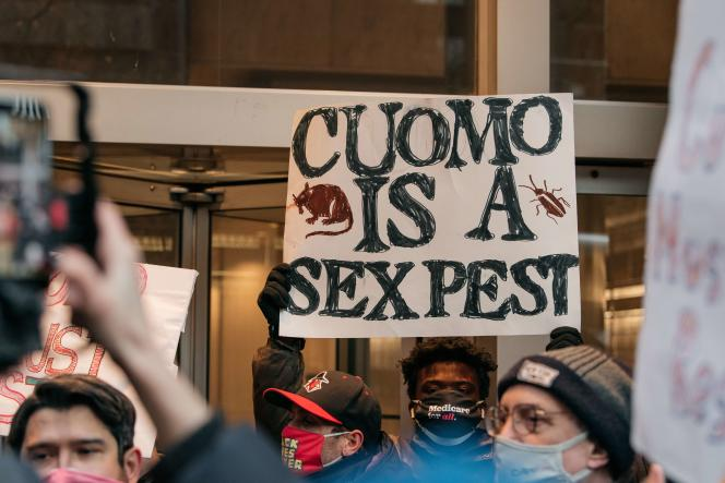 A demonstration to demand the resignation of the governor of New York, Andrew Cuomo, Tuesday, March 2.