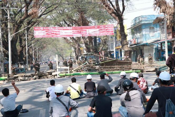Protesters in the town of Kale, Burma, Tuesday March 2.