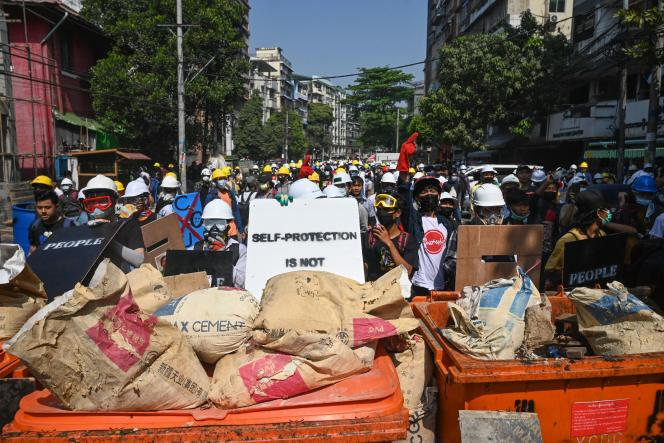 A barricade erected Tuesday, March 2 in Rangoon, Burma.