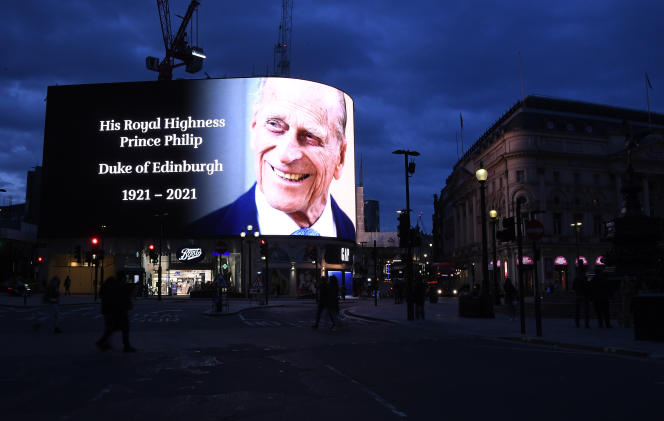 A tribute to Prince Philip is shown on the big screen at Piccadilly Circus in London on April 9.