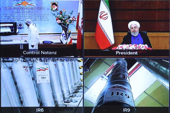 A screenshot from the video conference showing centrifuges at the Natanz uranium enrichment plant (Iran), April 10, 2021.