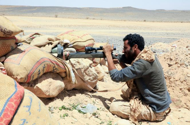 A fighter loyal to Riyadh-backed government forces in Marib province on April 6.