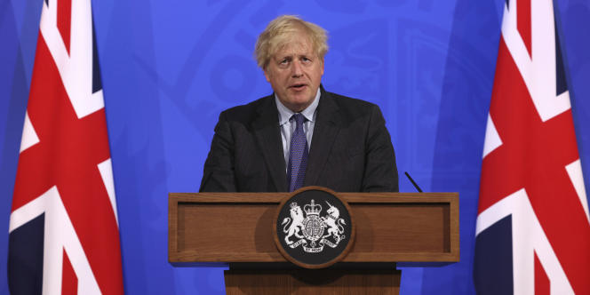 British Prime Minister Boris Johnson at a press conference in Downing Street, London on June 14, 2021.