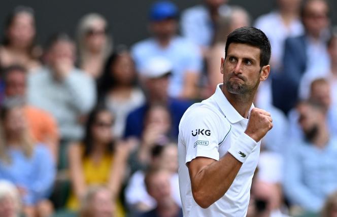 Novak Djokovi, July 11, 2021 at Wimbledon.