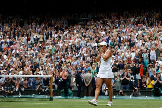 Ashleigh Barty just after her Wimbledon victory over Czech Karolina Pliskova on Saturday July 10, 2021.