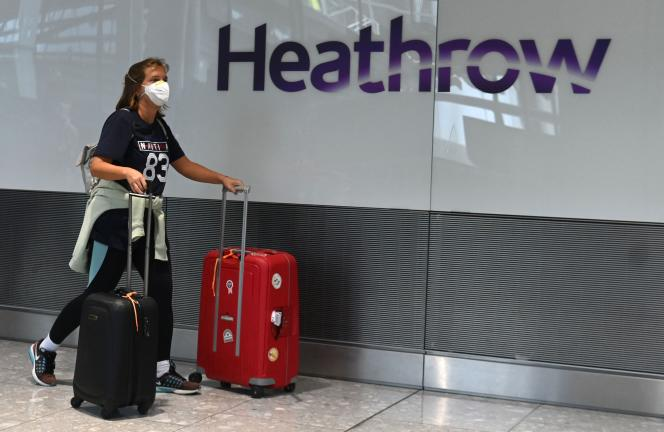 A passenger at London's Heathrow Airport, July 10, 2020.