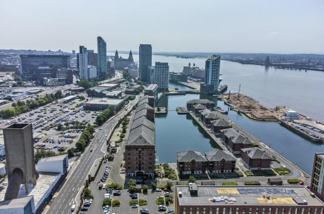 An aerial view of the Liverpool waterfront, which has been removed from the World Heritage list, Wednesday July 21, 2021.
