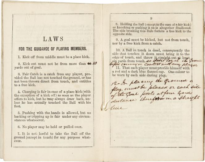 The first rules of football as enacted by the Sheffield club in 1859.