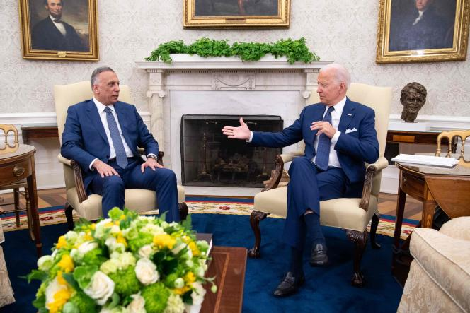 United States President Joe Biden (right) and Iraqi Prime Minister Mustafa Al-Kadhimi met at the White House on July 26.