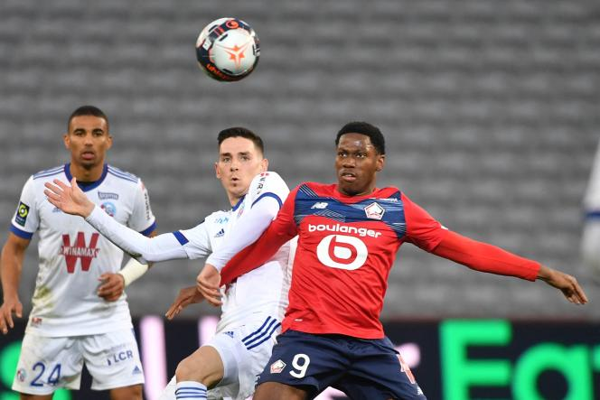 Striker Jonathan David during the Ligue 1 match between Lille and Strasbourg, February 28, 2021 at Stade Pierre-Mauroy.