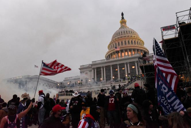 Police attempt to dislodge protesters with tear gas on Jan.6, 2021, at Capitol Hill, Washington.