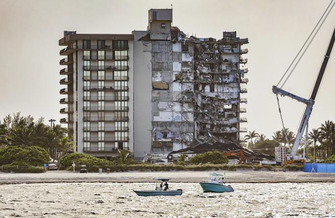 The Champlain Towers South building in Surfside, part of which collapsed in June 2021, killing 98 people.