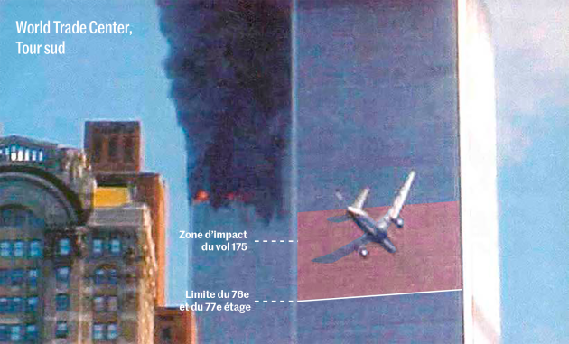 Image of United Airlines Flight 175 just before impact with the South Tower, which will cut off almost all access to the 637 people still above the 76th floor.